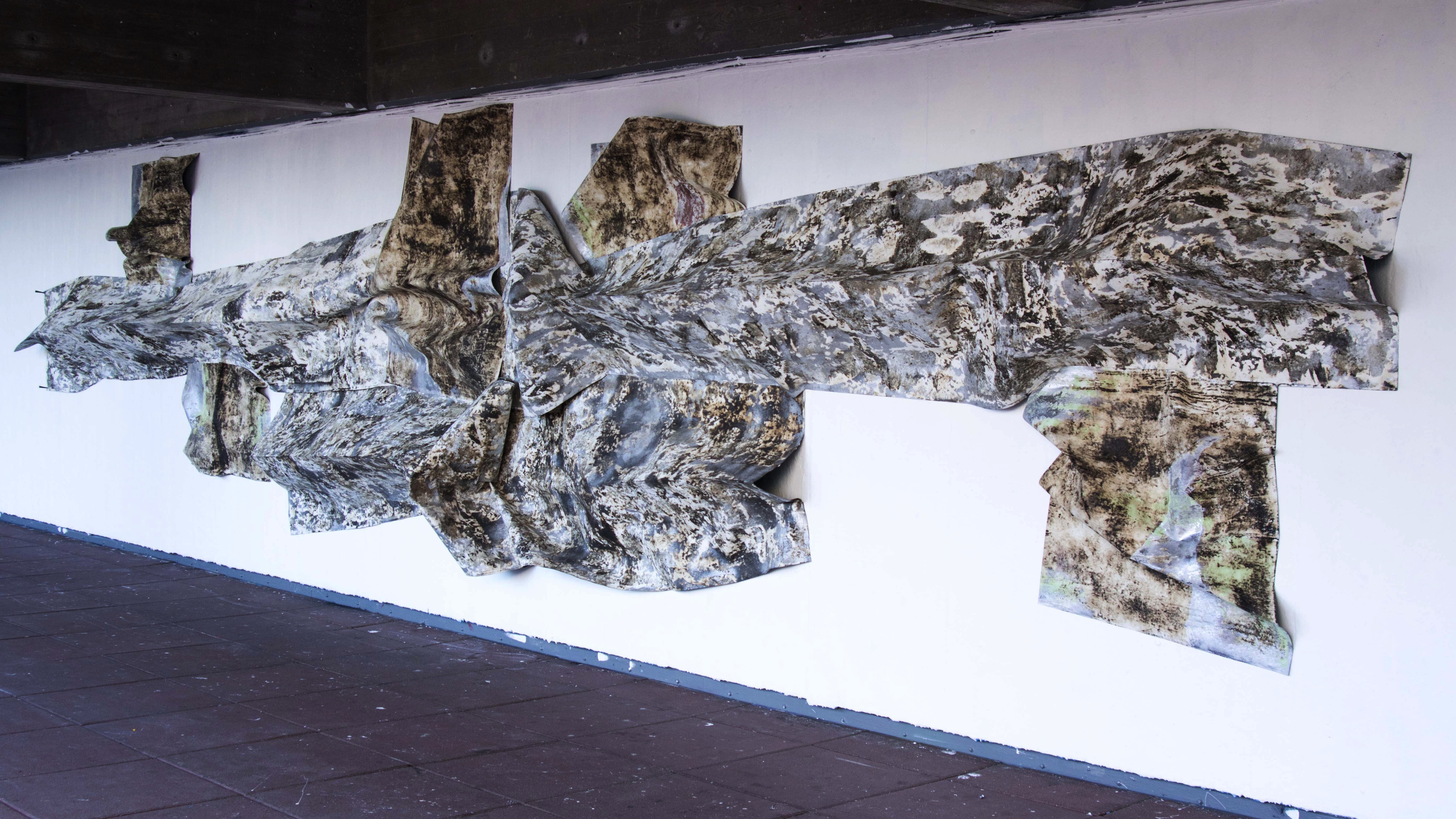 Tar paper, cement, joint compound, house paint, spray paint, wood sealer, 120 x 360 x 12 in., 2017
